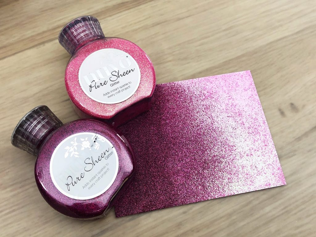ombre glitter card with two colours