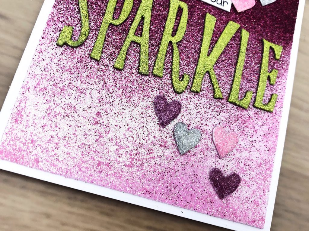 details of the finished ombre glitter card