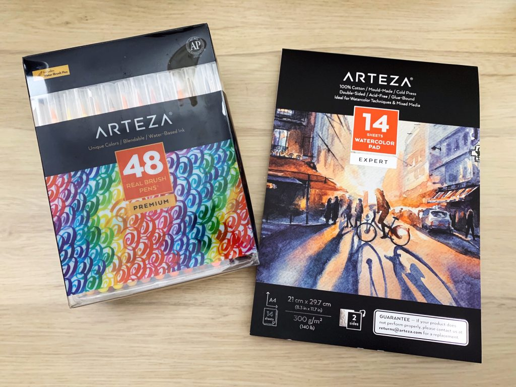 arteza watercolour card and brush pens