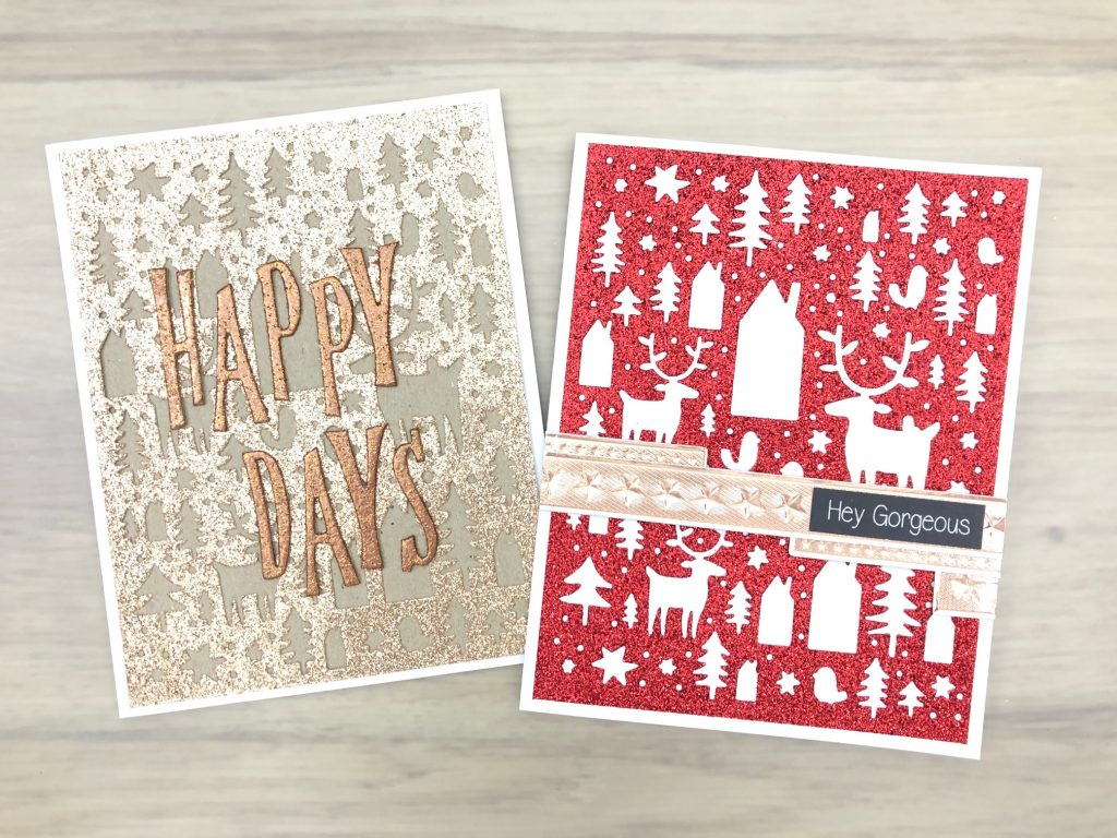 red and gold glitter cards