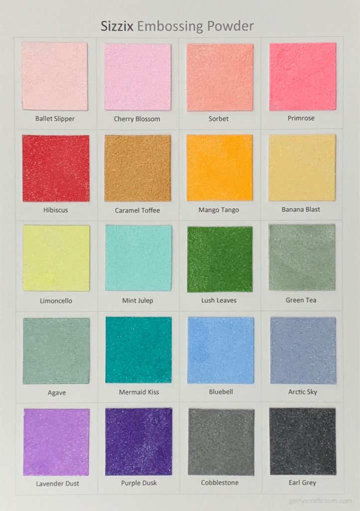 Sizzix Embossing Powder colour chart