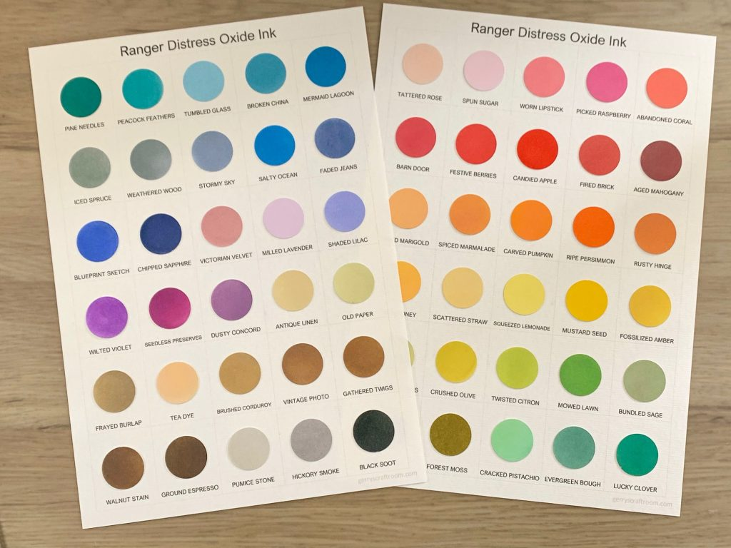 Distress Oxide ink colour charts