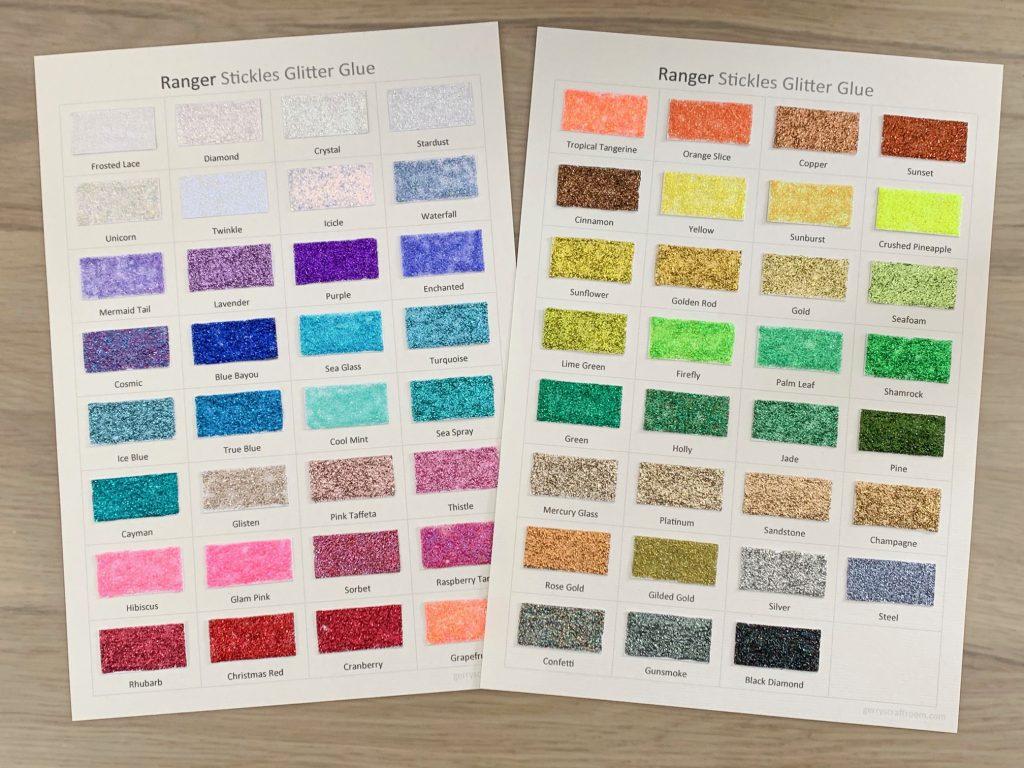 Stickles glitter glue colour charts