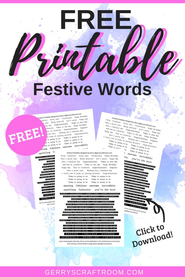 festive words printable black and white