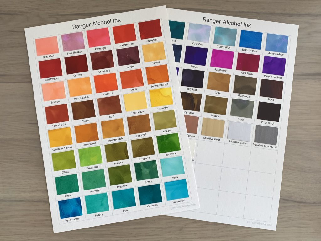 ranger alcohol ink collection colour charts
