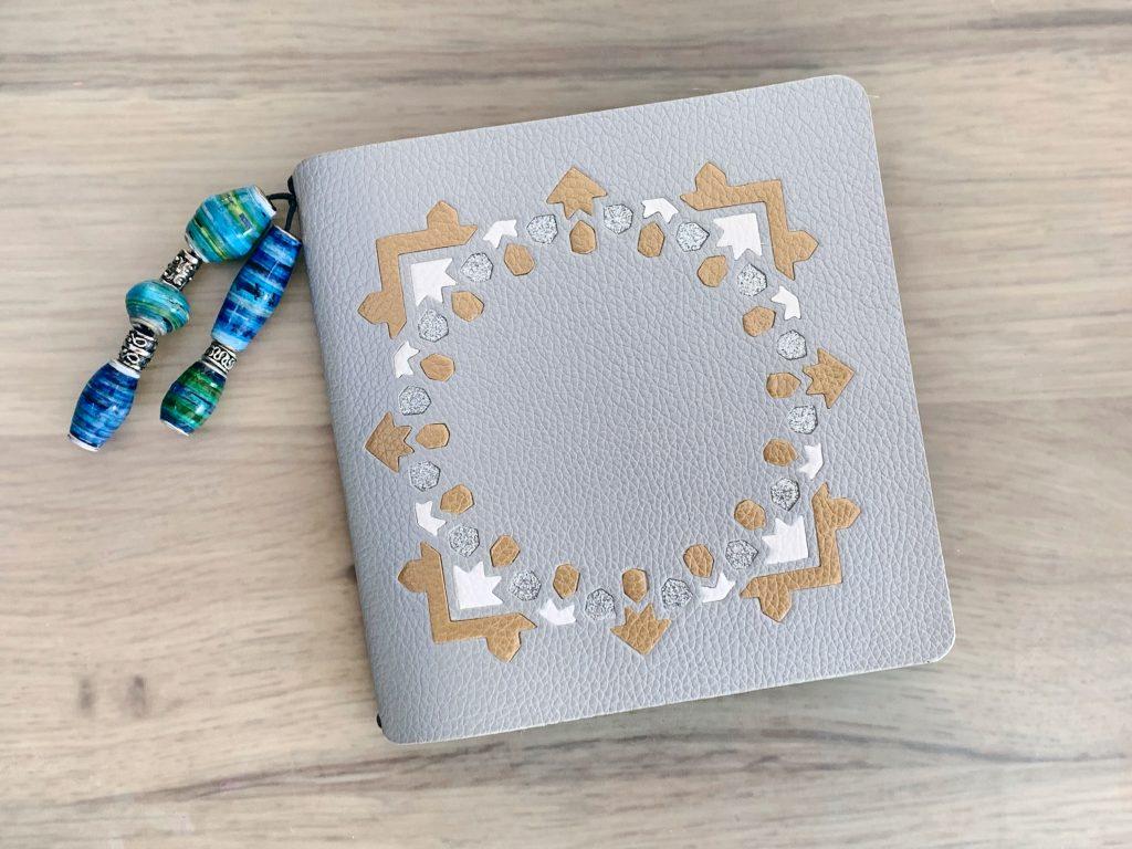 faux leather mini album silver blue