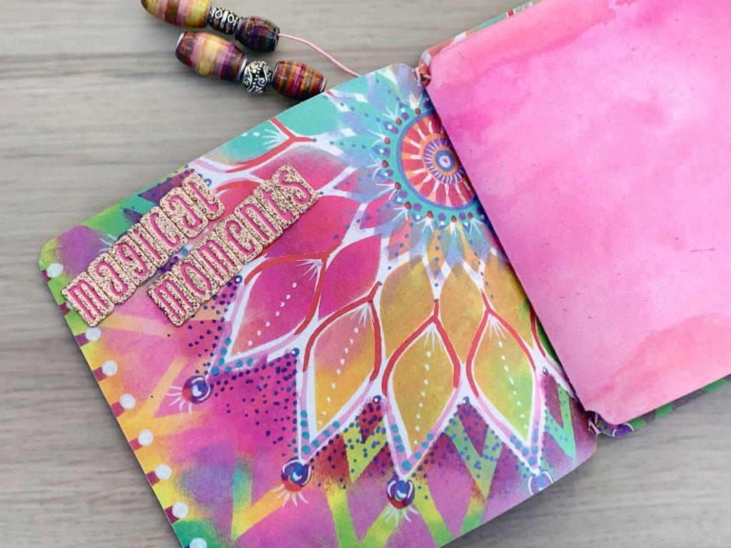 faux leather mini album pink gold