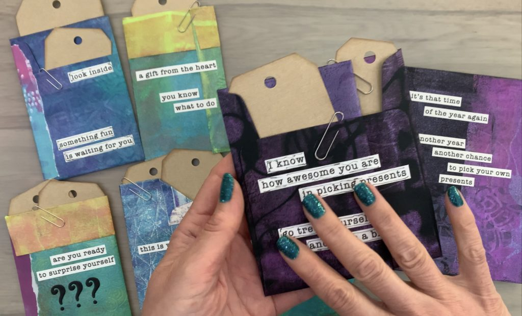 gelli print and gift card wrappers